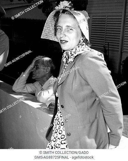 Margaret Truman models an Easter bonnet hat, Florida, April 6, 1950. Image courtesy National Archives. ()