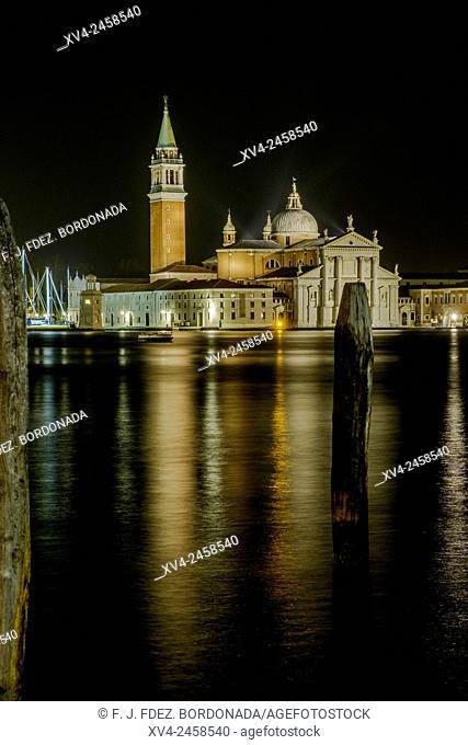 San Giorgio Maggiore, Venice by night, World Heritage Site, Italy, Europe