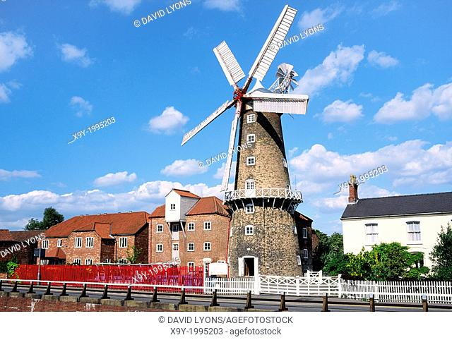 Maud Foster Windmill built in 1819 in the town of Boston, Lincolnshire, England UK