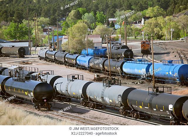 Newcastle, Wyoming - Petroleum tank cars at the BNSF Railway yard