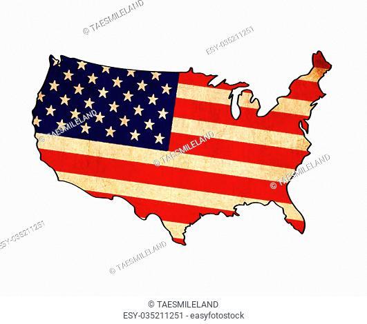 USA map on flag drawing ,grunge and retro flag series