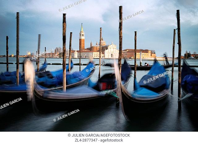 Italy, Veneto, Venice, listed as World Heritage by UNESCO, Saint Mark's Square (Piazza San Marco), gondolas at Riva degli Schiavoni docks