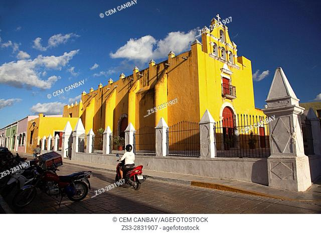 Motorcyclist in front of the Temple Of The Sweet Name Of Jesus, Campeche City, Campeche State, Mexico, Central America
