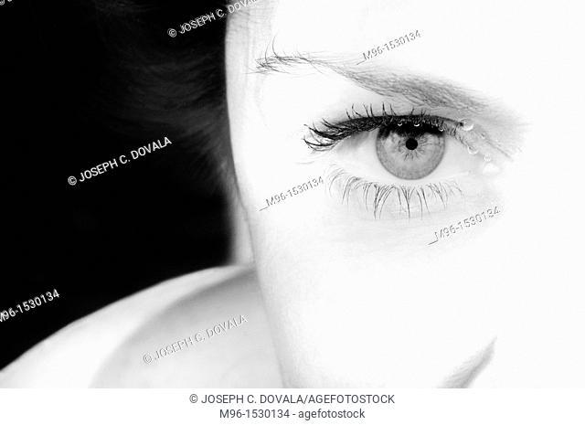 Woman's eye up close underwater