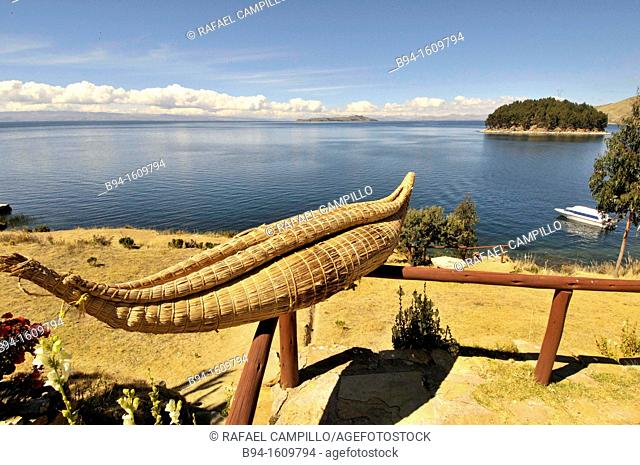 Lake Titicaca from Island of the Sun. Located in the Andes on the border of Peru and Bolivia. It sits 3,811 m (12,500 ft) above sea level