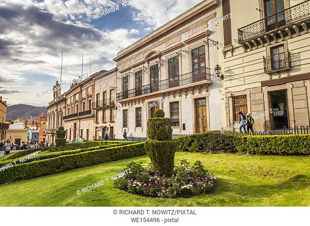 The Plaza de La Paz (Peace Plaza) in the historic city center of Guanajuato, Mexico