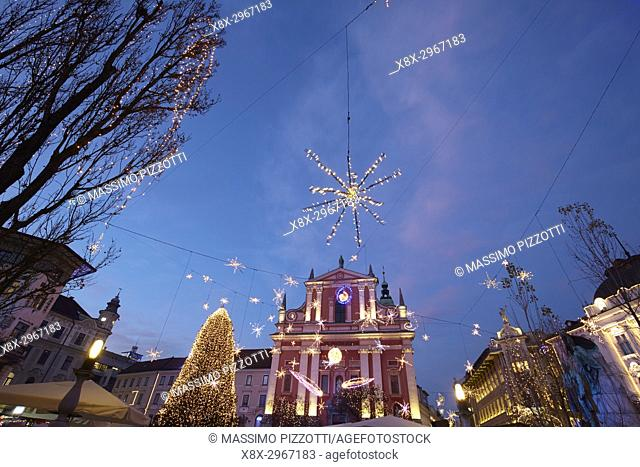 Franciscan Church of the Annunciation, Ljubljana with Christmas decorations, Slovenia