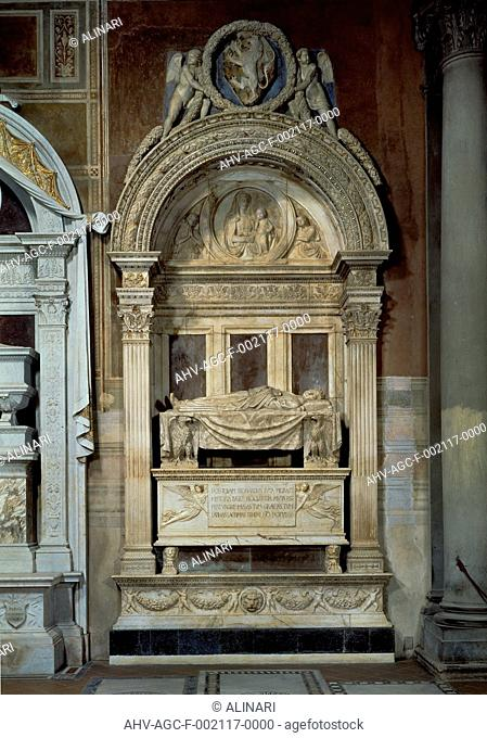 Sepulchral monument to Leonardo Bruni. Work by Bernardo Rossellino, preserved at the Church of St. Cross in Florence. (1444 - 1445), shot 1996 by Domingie