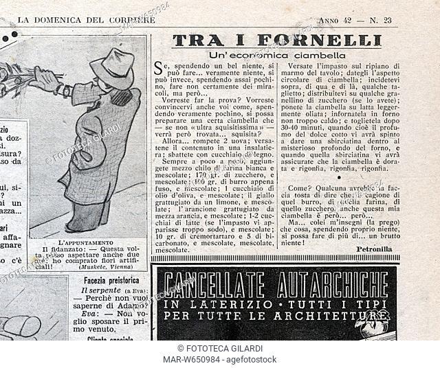 CUCINA una economica ciambella ricetta pubblicata nella rubrica -Tra i fornelli- firmata da Petronilla pseudonimo di Amalia Moretti Foggia (1872 - 1947) medico...