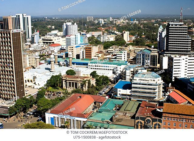 Aerial view of city looking nairobi kenya