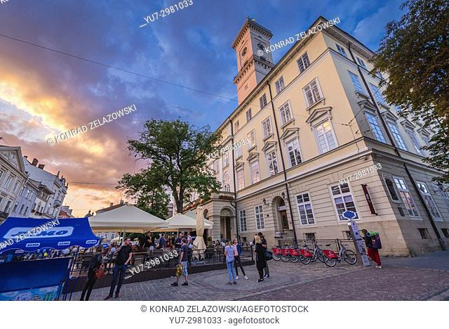 Town Hall on a Market Square of Old Town in Lviv city, largest city in western Ukraine