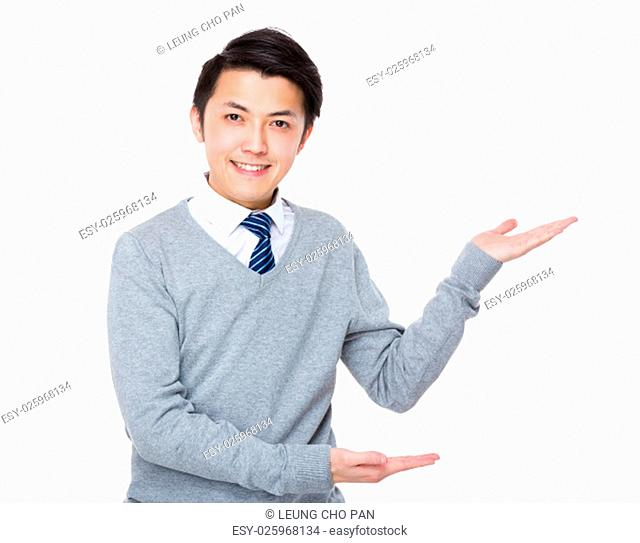 Young Businessman with open hand palm