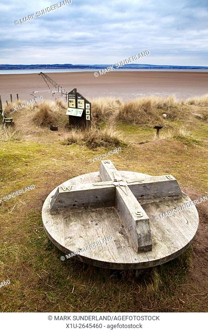 Compass Seat at Tentsmuir Point in Tentsmuir National Nature Reserve Tayport Fife Scotland