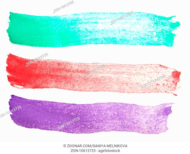 watercolor strokes isolated on white background