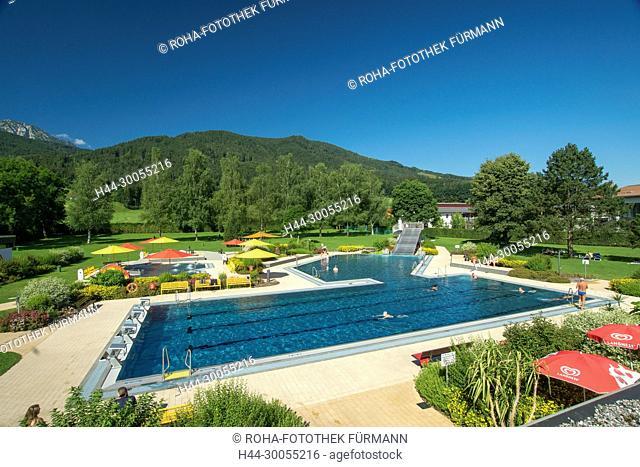 Bayern, Oberbayern, Berchtesgadener Land, Rupertiwinkel, Anger, Aufham, Hochstaufen, Schwimmbad, Staufenbad, Schwimmbecken, Baden, schwimmen