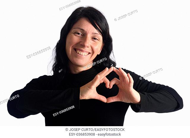 Woman with heart sign