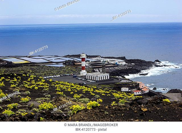 Coastline with Teneguía saltworks, old and new lighthouse, south cape Punta de Fuencaliente, La Palma, Canary Islands, Spain