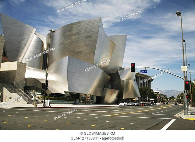 Concert hall at the roadside, Walt Disney Concert Hall, Los Angeles, California, USA