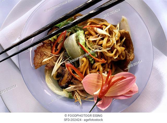 Indian Noodles Topped with Pork
