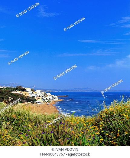 View of sea shore from acropolis, Selinunte, Sicily, Italy