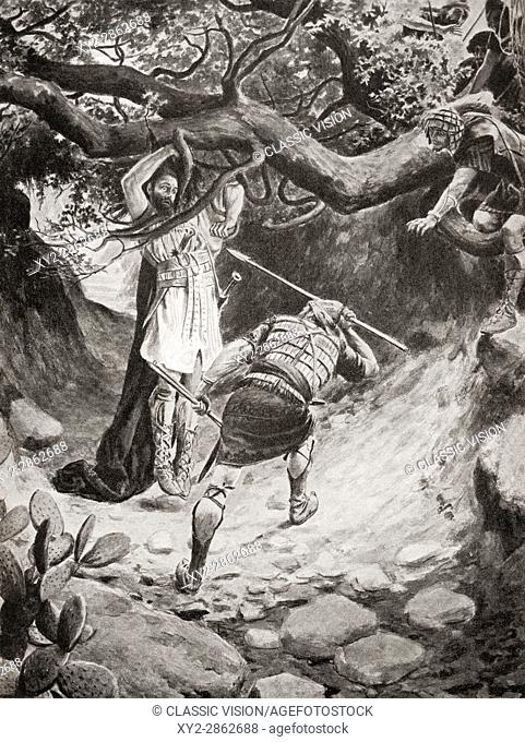 The death of Absalom or Avshalom during the Battle of the Wood of Ephraim. From Hutchinson's History of the Nations, published 1915