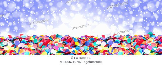 Confetti, colourful and round, with bokeh