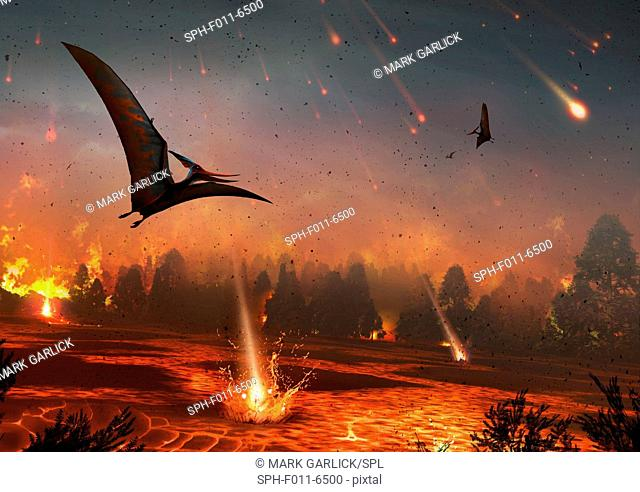 Artwork of pterosaurs flying over a scene of destruction. Some 65 million years ago, the impact of an asteroid or comet with the Earth provoked one of...