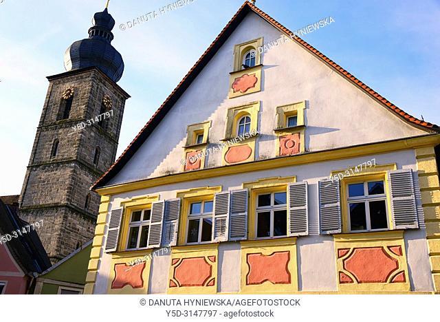 St. Martin church tower seen from Sattlertorstrasse, historic part of Forchheim, Forchheim, Franconian Switzerland, Upper Franconia, Franconia, Bavaria, Germany