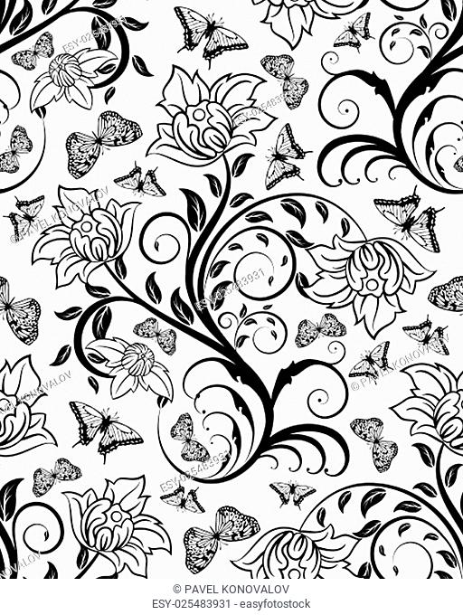 Seamless floral ornate pattern in Black and White Colors. Very Cute Background Design with Butterflies. Ideal for Textile Print and Decorative Wallpaper