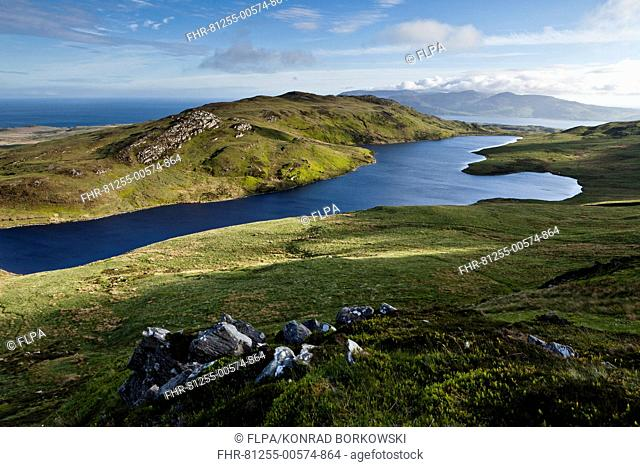 View of freshwater loch and coastline, viewed from halfway up Dubh Bheinn across east coast of Islay, Loch a Bhaile-Mhargaidh (Market Loch), Isle of Jura