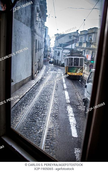 Classic old tram in the streets of Alfama in Lisbon, Portugal