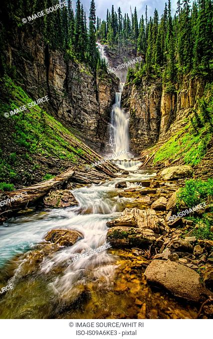 Blurred view of waterfall in canyon