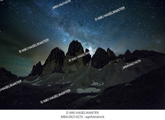 the Tre Cime di Lavaredo with Milky Way