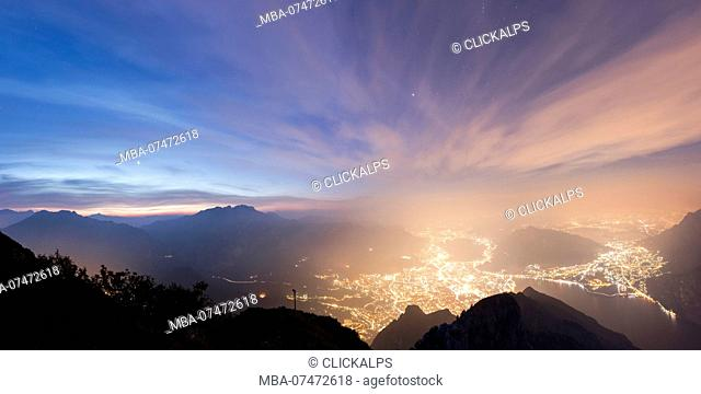 Panoramic of Lecco and Monte Resegone seen from Monte Coltignone at dawn, Lombardy, Italy