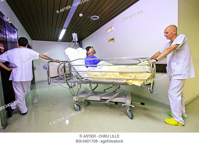 Photo essay at the regional hospital complex of Lille, France, hospital Roger Salengro, department of neurosurgery, Gamma knife