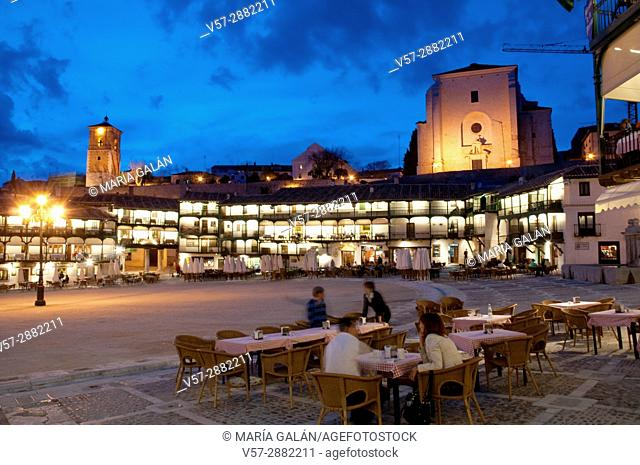 Terrace in Plaza Mayor, night view. Chinchon, Madrid province, Spain