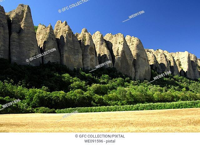 Rock formation Pénitents, Les Mées, Provence, France