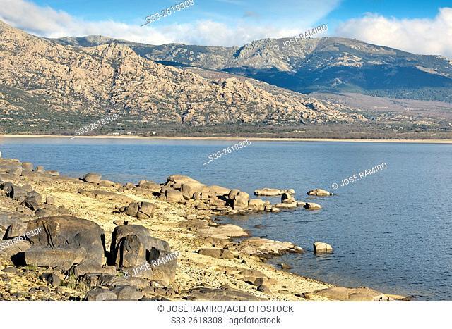 Santillana reservoir and The Pedriza. Manzanares el Real. Madrid. Spain. Europe