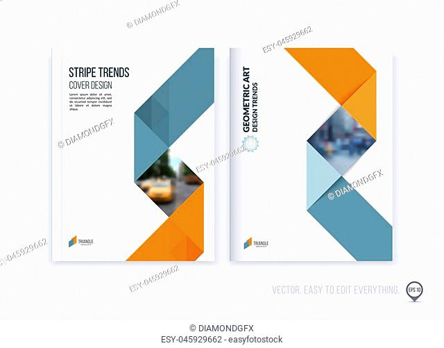 Brochure template layout, cover design annual report, magazine, flyer or booklet in A4 with yellow grey dynamic triangular geometric shapes and folding stripe...