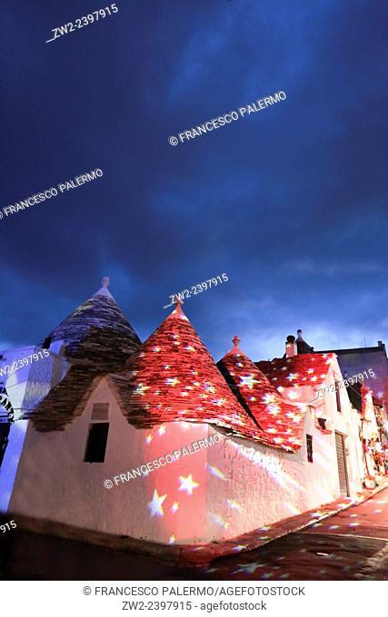 Christmas lights in Trullis area. Alberobello, Puglia. Italy