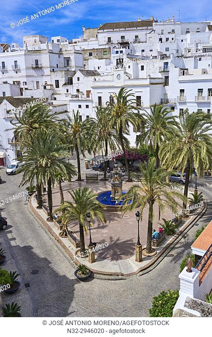Vejer de la Frontera, Plaza de españa, Costa de la Luz. White Town, Cadiz Province. Andalucia. Spain