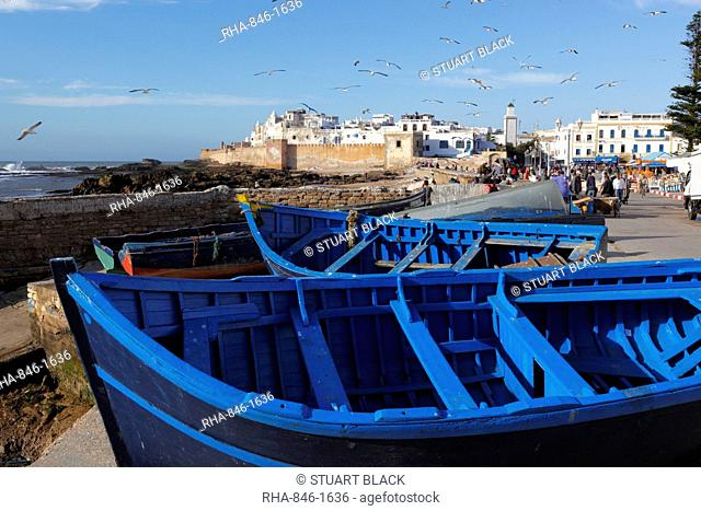 View over the fishing harbour to the ramparts and medina, Essaouira, Atlantic coast, Morocco, North Africa, Africa