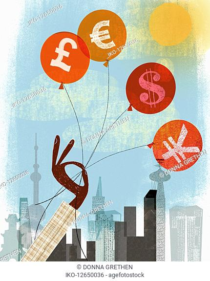 Hand holding on to pound, euro, dollar and yen balloons
