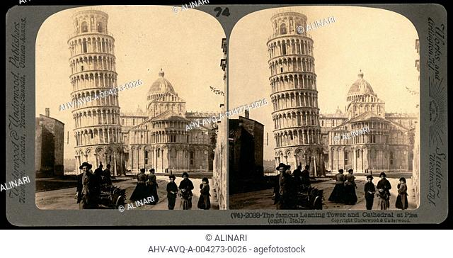 Animated view of the Cathedral and the Leaning Tower of Pisa; Stereoscopic photograph (1173), shot 1880 ca. by Underwood & Underwood