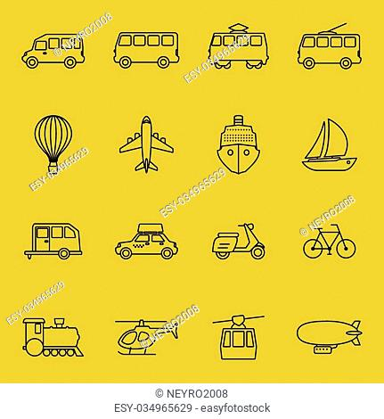 Vector thin line icons of transport. Car and taxi, train and motorcycle, bus and moped illustration