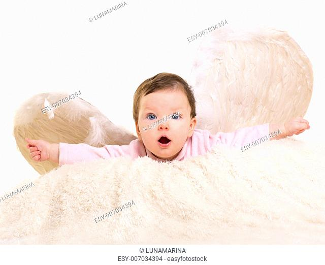 baby girl angel with feather white wings on white fur and open arms
