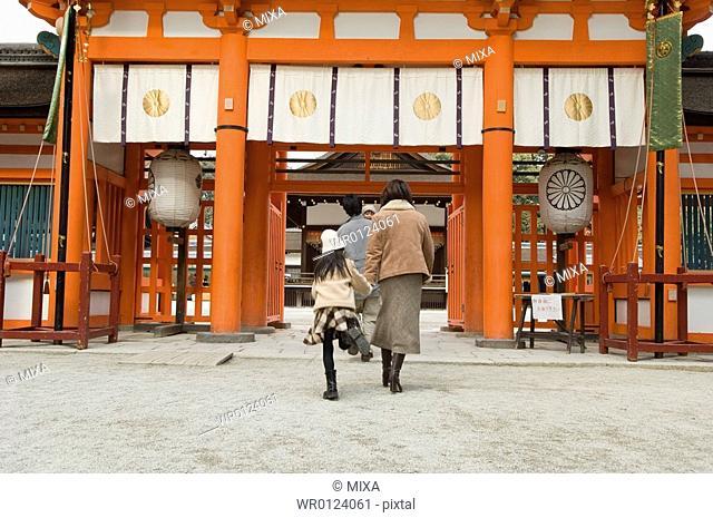 Family at shrine