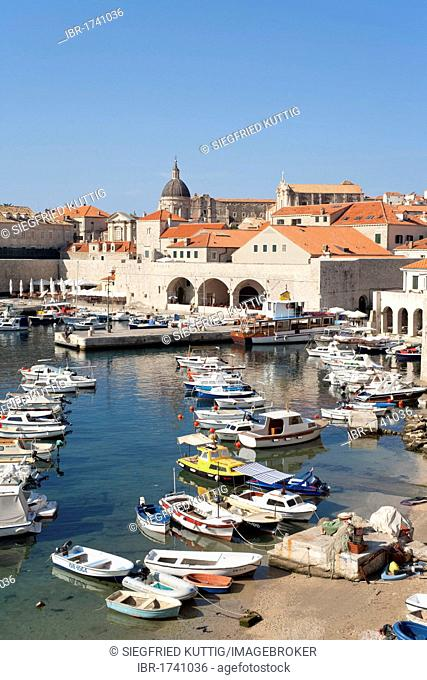 Harbour of the historic town of Dubrovnik, Southern Dalmatia, Adriatic Coast, Croatia, Europe