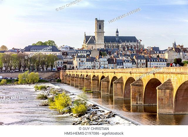 France, Nievre, Nevers, the cathedral of Saint Cyr et Sainte Julitte de Nevers across the River Loire