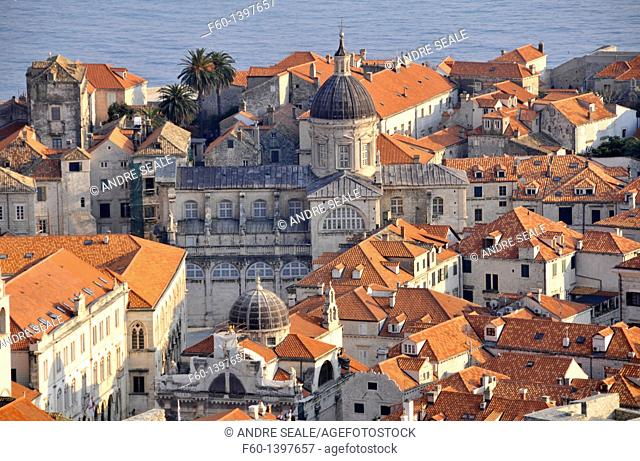Aerial view of XIII century old historic Town, UNESCO World Heritage Site, Dubrovnik, Croatia, Adriatic Sea